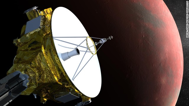 NASA's New Horizons spacecraft is the first probe sent to Pluto, and it's scheduled to arrive in July 2015. This is an artist's concept of the spacecraft flying past Pluto.