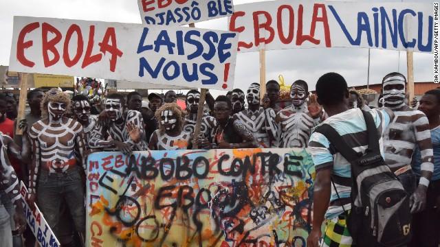A rally against the Ebola virus is held in Abidjan on September 4.