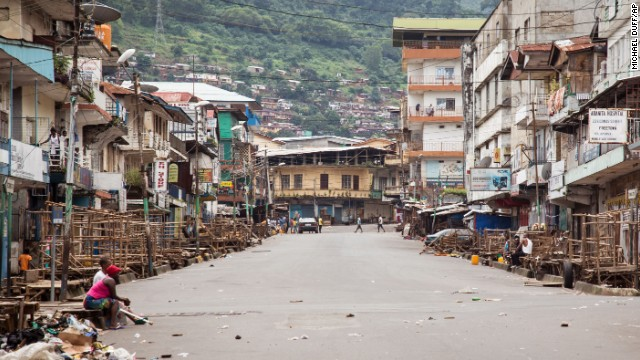 A few people are seen in Freetown during a three-day nationwide lockdown on Sunday, September 21. In an attempt to curb the spread of the Ebola virus, people in Sierra Leone were told to stay in their homes.