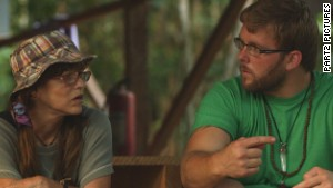 Ryan LeCompte, right, talks with one of the veterans seeking ayahuasca\'s benefits.