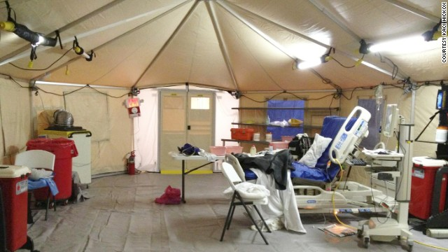 Kaci Hickox, a nurse who recently returned to the United States after working in Ebola-ravaged West Africa, sent CNN this image of the tent where she was being isolated for Ebola monitoring Sunday, October 26, in New Jersey. Hospital officials told CNN the indoor tent is in a climate-controlled extended-care facility adjacent to a hospital. Hickox has twice tested negative for Ebola.