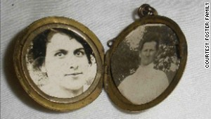Leo Foster, a bugler in World War I, carried this locket with him, including a photo of a sister and his mother.