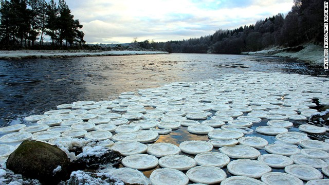 Biologist Jamie Urquhart found the strange ice pancakes near the River Dee in Scotland.