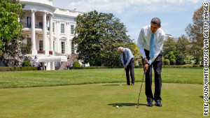 President Barack Obama and Vice President Joe Biden practice on the White House putting green in 2009. Fifteen of the past 18 presidents have played golf.