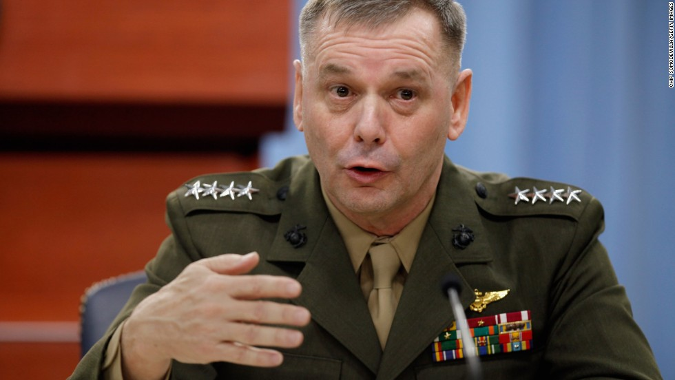 Then-Vice Chairman of the Joint Chiefs of Staff Gen. James Cartwright holds a news conference in 2011. He pleaded guilty Monday to lying to federal authorities about leaking classified info to reporters.