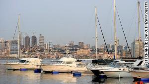 Boats docked in Luanda marina.
