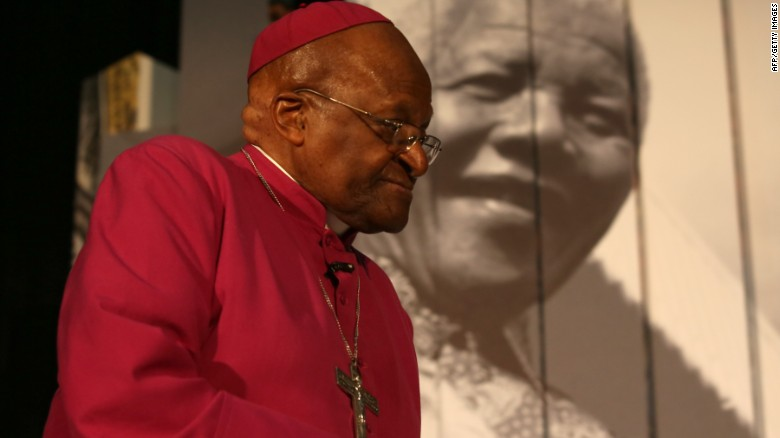 Archbishop Desmond Tutu at a Nelson Mandela exhibit in 2013.