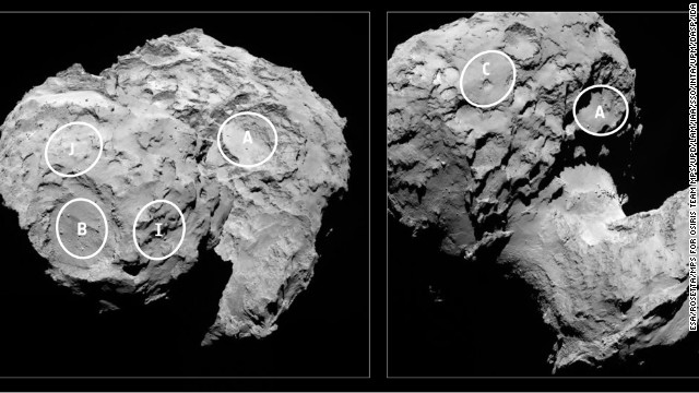 Two views of Comet 67P/Churyumov-Gerasimenko showing five possible touch down sites for the Rosetta mission's Philae lander. The European Space Agency is shortly due to identify its favored option for the scheduled November landing.