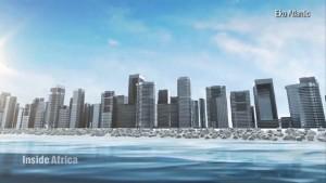 Neighborhood rising from ocean