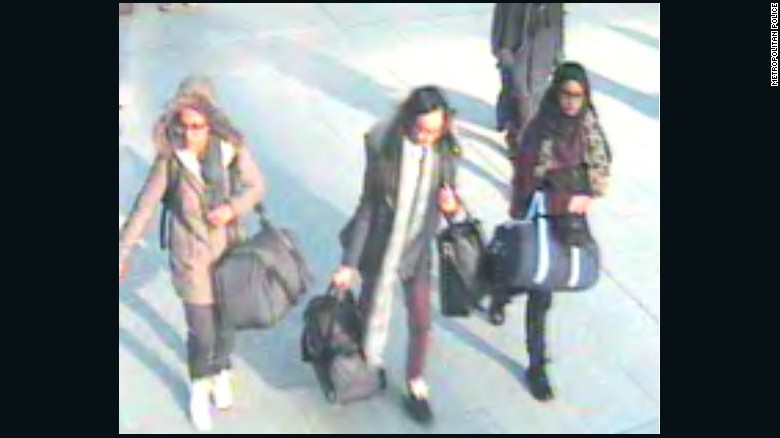 British teenagers Amira Abase, Shamima Begum and Kadiza Sultana at Gatwick Airport on their way to Turkey. Police fear they may be making their way to Syria.