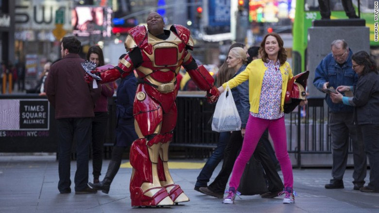 "Tituss Burgess, left, and Ellie Kemper star in ""The Unbreakable Kimmy Schmidt."""