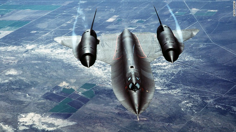 "A U.S. Air Force SR-71A, also known as the ""Blackbird,"" is put through its paces during a test flight over Beale Air Force Base in California. The aircraft is a strategic reconnaissance plane by Lockheed and is the world's fastest and highest flying operational aircraft."