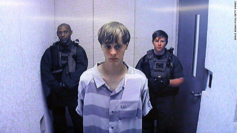In this image from the video uplink from the detention center to the courtroom, Dylann Roof appears at a bond hearing Friday, June 19, in South Carolina. Roof is charged with nine counts of murder and firearms charges in the shooting deaths at Emanuel African Methodist Episcopal Church in Charleston, South Carolina on June 17.