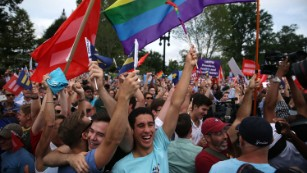 Celebrations at the Supreme Court after marriage ruling