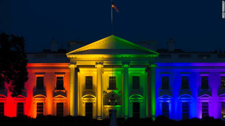 """The White House is lit up in rainbow colors in commemoration of the Supreme Court's ruling to legalize same-sex marriage on Friday, June 26. The court <a href=""""http://www.cnn.com/2015/06/26/politics/supreme-court-same-sex-marriage-ruling/index.html"""" target=""""_blank"""">ruled that states cannot ban same-sex marriage</a>, handing gay rights advocates their biggest victory yet."""