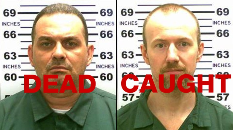 Prison escapee David Sweat, right, was shot and taken into custody Sunday, two days after fellow escapee Richard Matt was found and killed.