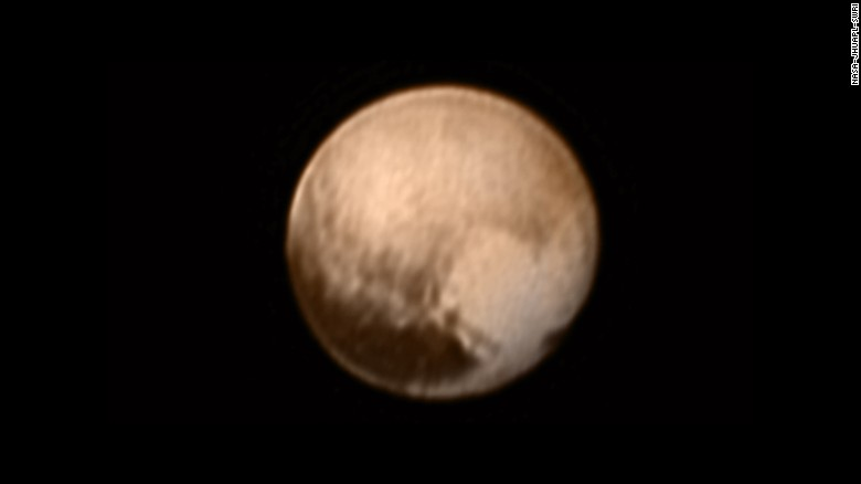 Do you see a heart on Pluto? This image was taken on Tuesday, July 7, 2015 by New Horizons when it was about 5 million miles from the planet. Look to the lower right, and you'll see a large bright area -- about 1,200 miles across -- that resembles a heart.