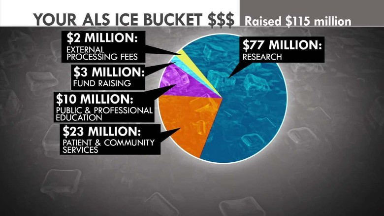 A breakdown of what the ALS Association did with $115 million of Ice Bucket Donations.