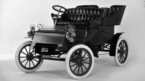 """There was a time before Henry Ford became <em>Henry Ford</em>, an industrialist so well-known that his name was synonymous with consumerism and efficiency in Aldous Huxley's satirical novel """"Brave New World."""" On July 23, 1903, his new Ford Motor Co. introduced the Model A, seen here. At the time, Ford was one of many trying to establish himself in the new automobile business -- though he had a vision of a car for everyone, not just rich people."""