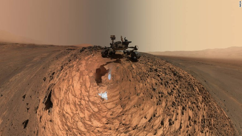 "NASA's Curiosity Mars rover has snapped a <a href=""http://www.nasa.gov/jpl/msl/pia19807/curiosity-low-angle-self-portrait-at-buckskin-drilling-site-on-mount-sharp"" target=""_blank"">new selfie</a>, which is actually a series of selfies combined. The images show the spacecraft above the ""Buckskin"" rock target where it drilled and collected its seventh sample of the Martian soil. Dozens of images taken by Curiosity's Mars Hand Lens Imager on August 5 were combined to create the photo."