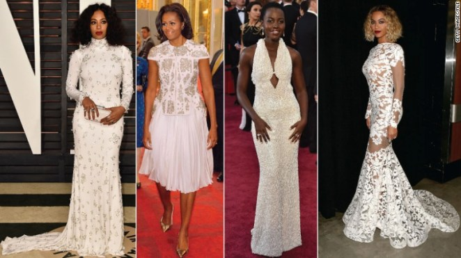 L-R: Solange, Michelle Obama, Lupita Nyong'o and Beyonce.
