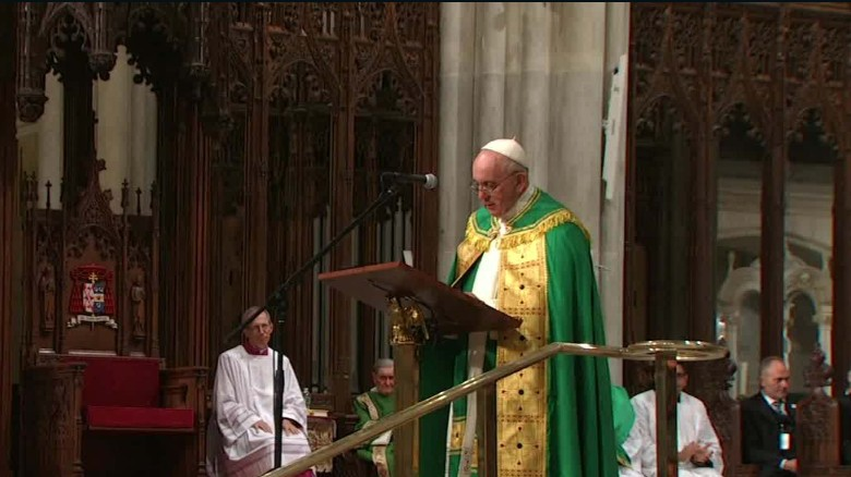 Pope Francis speaks during evening prayer service at St. Patrick's Cathedral in New York on Thursday.