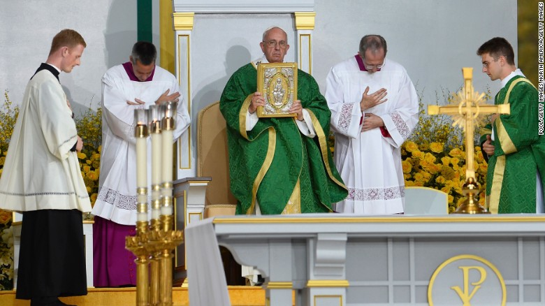 Pope Francis celebrates Mass at the World Meeting of Families at Benjamin Franklin Parkway in Philadelphia on September 27.