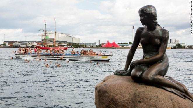 """Andersen's """"Little Mermaid"""" is also immortalized in a <a href=""""http://www.visitcopenhagen.com/copenhagen/the-little-mermaid-gdk586951"""" target=""""_blank"""">bronze statue </a>that sits on the shores of the Langelinie in Copenhagen, Denmark.<br /><br />The sculpture, a gift from Danish brewer Carl Jacobsen to the city of Copenhagen, turned 100 years old on August 23, 2013."""