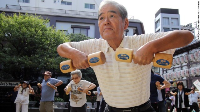 Japan has the longest-living population in the world, with the average 60-year-old going on to live until age 86. Experts say this is due to good diets, active lifestyles and supportive family structure.