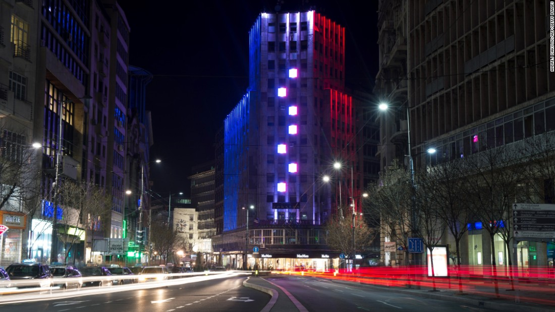 The Palace Albania building is lit in the colors of the French flag on November 14 in central Belgrade.