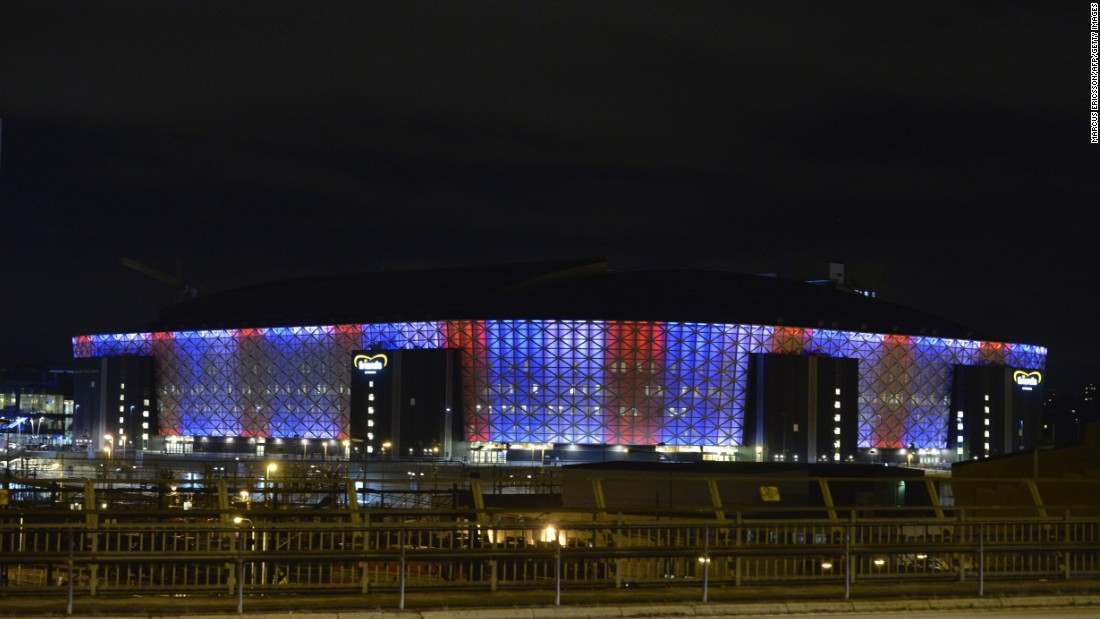 Friends Arena in Solna, outside Stockholm, is illuminated in blue, white and red on November 14.