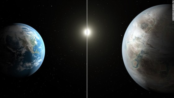 This artistic concept image compares Earth (left) to Kepler-452b, which is about 60 percent larger. Both planets orbit a G2-type star of about the same temperature; however, the star hosting Kepler-452b is 6 billion years old -- 1.5 billion years older than our sun.