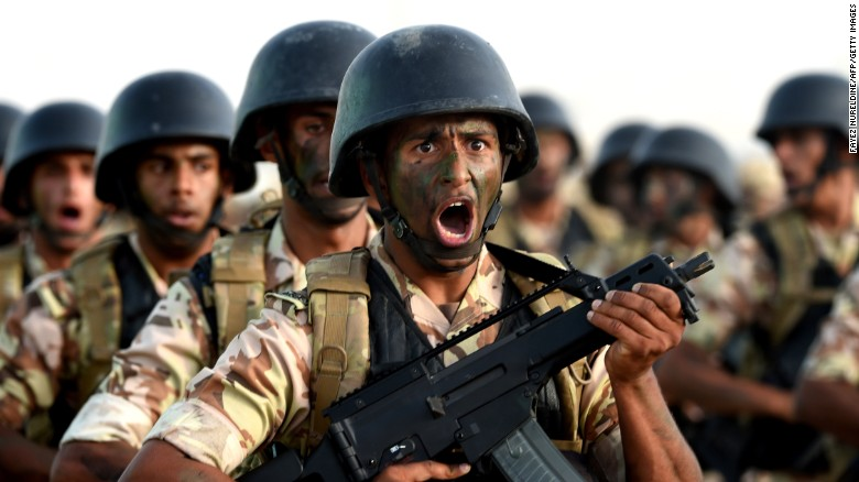 Saudi Special Forces march in Riyadh in May 2015.
