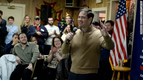 Marco Rubio speaks at a pancake breakfast at the Franklin VFW on December 23, 2015, in Franklin, New Hampshire.