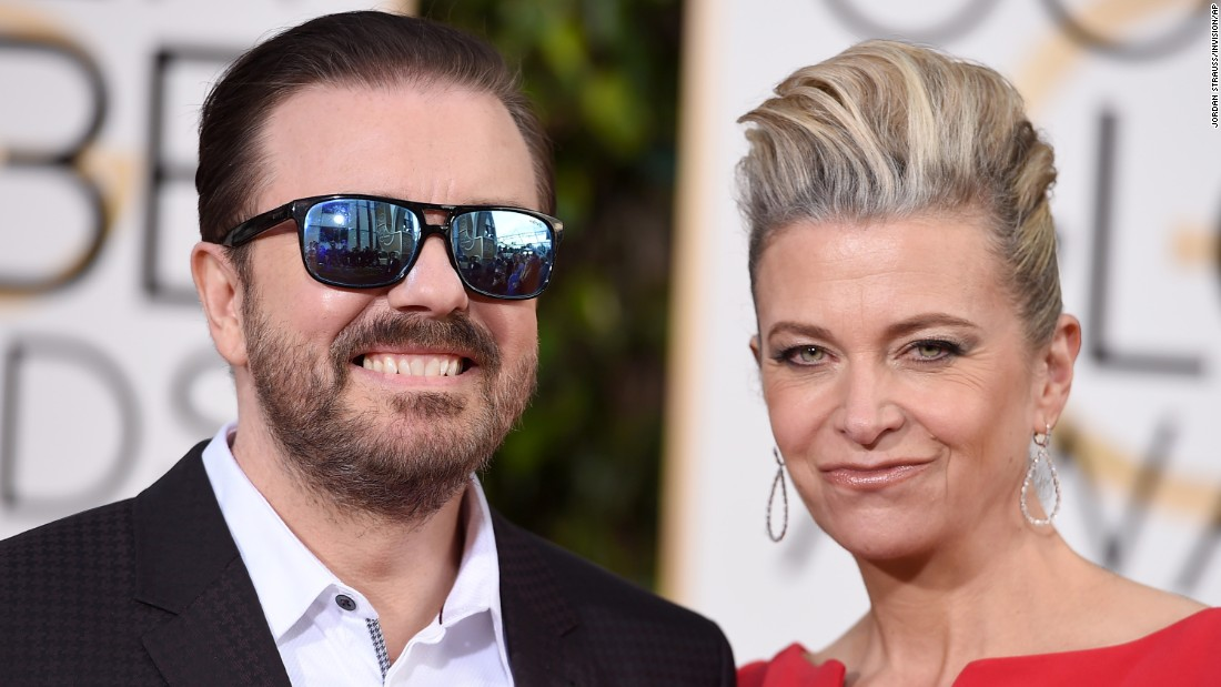 Host Ricky Gervais and his girlfriend, Jane Fallon