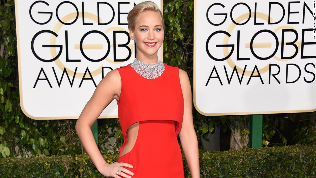 Jennifer Lawrence poses on the red carpet before the 73rd annual Golden Globe Awards on Sunday, January 10.