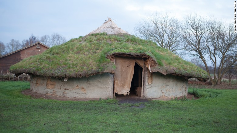 Scientists are excavating the best-preserved Bronze Age village ever found in the UK, located in the marshlands of eastern Britain, at a site dubbed Must Farm. Pictured is a replica of a Bronze Age house that shares similarities with two ancient dwellings at the site, which stood on stilts.