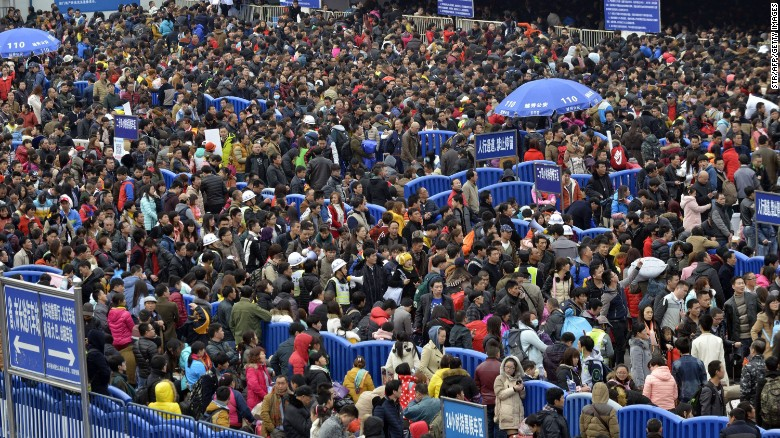"""Vast crowds trying to head home for Lunar New Year celebrations <a href=""""http://www.cnn.com/2016/02/02/travel/china-guangzhou-railway-station-chunyun-crowds/"""" target=""""_blank"""">were stranded</a> at the Guangzhou Railway Station in southern China after snow and ice delayed at least 22 trains on Tuesday, February 2. More than 2.9 billion trips are expected to be made in China during the Lunar New Year holiday period, according to Chinese authorities."""