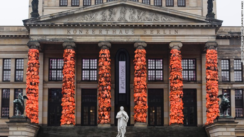 Ai Weiwei's latest installation has 14,000 life vests tied to the columns of a Berlin concert house.