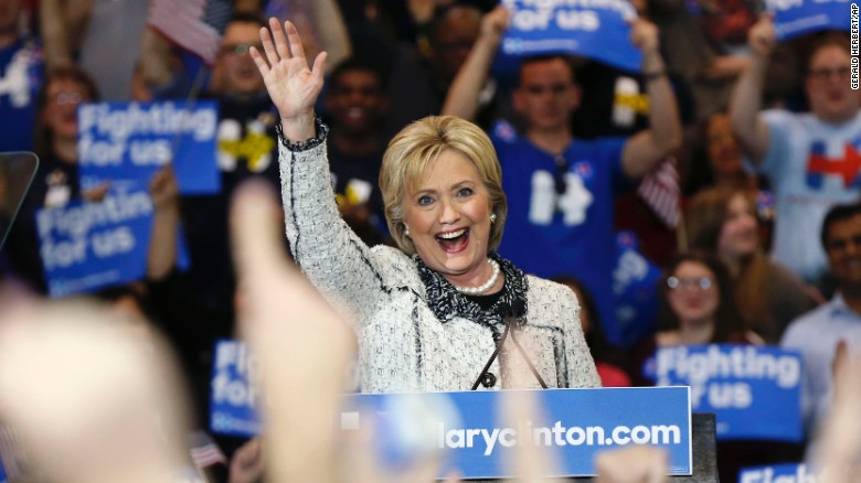 Democratic presidential candidate Hillary Clinton acknowledges supporters at her election night watch party after winning the South Carolina Democratic primary in Columbia, S.C., Saturday, Feb. 27, 2016. (AP Photo/Gerald Herbert)