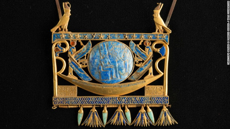 Canopus and Thonis-Heracleion also yielded intricate jewelry, says Masson-Berghoff. Seen here is a pectoral in gold, lapis lazuli and glass paste, found in Tanis in the royal tomb of the Pharaoh Sheshonk II. In the center of the piece is a barge, not unlike the 69 vessels discovered by Goddio's team in Abukir Bay.