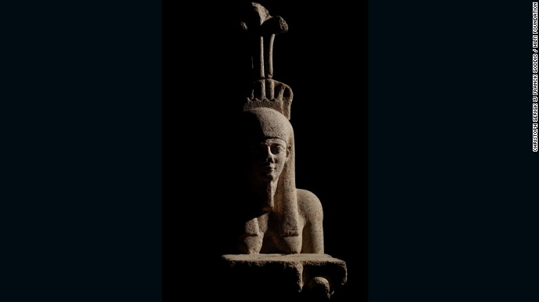 Hapy, god of the flooding of the Nile, was a symbol of abundance and fertility. The example on display dates from the Early Ptolemaic period. During that time, the Greek rulers of Canopus and Thonis- Heracleion commissioned statues of their likeness, though they also made sure to feature Egyptian affectations.<br />