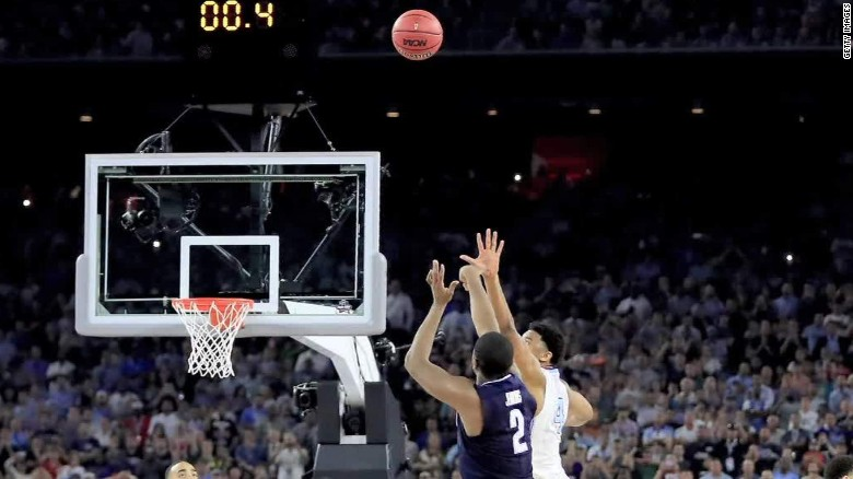Villanova's Kris Jenkins hit a buzzer-beating three to give the Wildcats a 77-74 win against North Carolina in the NCAA tournament national championship game.