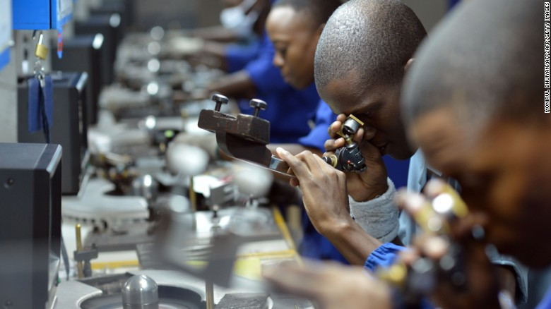 A diamond polishing factory in Botswana, part of a high-skill industry that has been developed from the nation's raw materials.