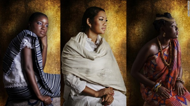 Some of Choumali's subjects, of Guere, Merina and Baoule backgrounds (left to right).