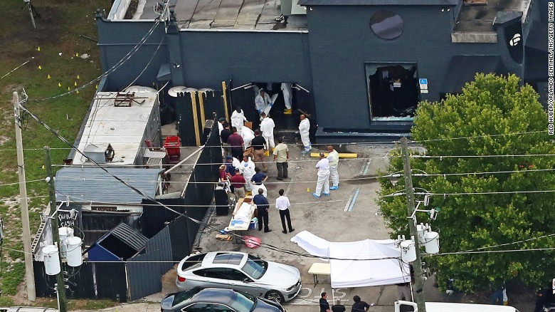 An aerial view of the mass shooting scene at Pulse nightclub in Orlando, Florida, on June 12.