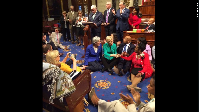 """Rep. John Lewis, second from right, sits with other Democrats on the House floor as<a href=""""http://www.cnn.com/2016/06/22/politics/john-lewis-sit-in-gun-violence/index.html""""> they try to force a vote on gun control</a> on Wednesday, June 22. Lewis posted <a href=""""https://www.facebook.com/RepJohnLewis/posts/10154185589303405:0"""" target=""""_blank"""">the above photo to his Facebook account saying</a>, """"We have a mission, a mandate, and a moral obligation to speak up and speak out until the House votes to address gun violence. We have turned deaf ears to the blood of the innocent and the concern of our nation. We will use nonviolence to fight gun violence and inaction."""""""