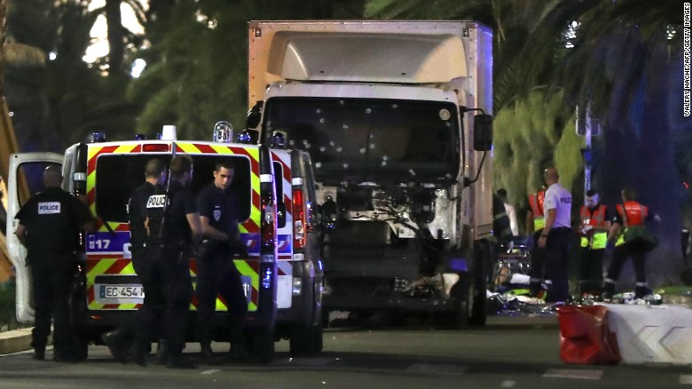 The truck plowed into a crowd leaving a Bastille Day fireworks display in the French resort city of Nice. One witness, an American who was about 15 feet from the truck, said the driver accelerated and pointed his tractor-trailer into the crowd, moving bodies over.
