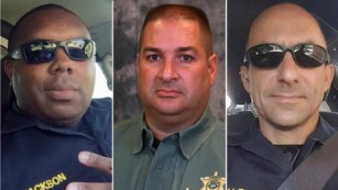 The three law-enforcement officers killed in Baton Rough, Louisiana, were, from left, Montrell Jackson,  Brad Garafola and Matthew Gerald.