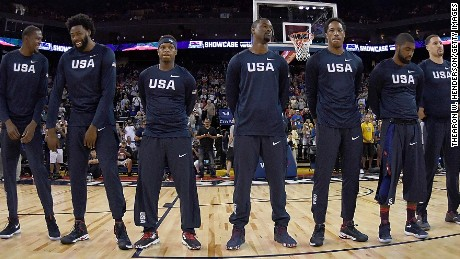 OAKLAND, CA - JULY 26:  The United States Men's National Basketball Team stands together during the playing of the National Anthem prior to playing the China Men's National Team in a USA Basketball showcase exhibition game at ORACLE Arena on July 26, 2016 in Oakland, California.  (Photo by Thearon W. Henderson/Getty Images)